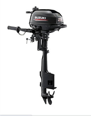 "Suzuki DSF2.5S, 4-stroke 2.5hp, Tiller handle, Manual Start, 15"" Short Shaft"