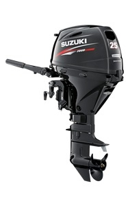 "Suzuki 25hp DF25ATHL, 4-stroke, 20"" Long Shaft - Electric Start - Tiller Handle - Power Trim and Tilt"