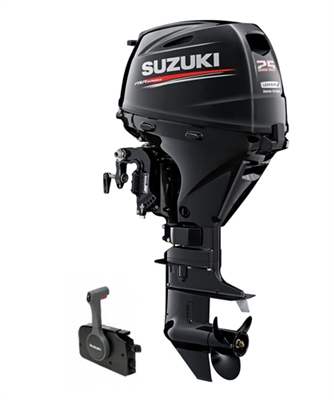 "Suzuki 25hp DF25ATL, 4-stroke, 20"" Long Shaft - Electric Start - Remote Steering - Power Trim and Tilt"