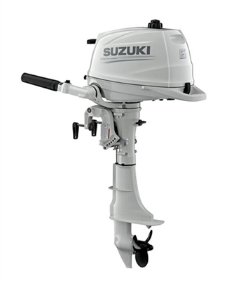 "Suzuki DF6ASW, 4-stroke 6hp, Tiller handle, Manual Start, 15"" Short Shaft"