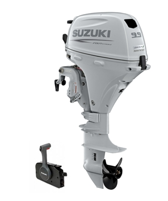 "Suzuki 9.9hp DF9.9BTXW, 4-stroke, 25""  Shaft, Power Tilt Series (High Thrust) - Electric Start - Remote Steering - EFI"