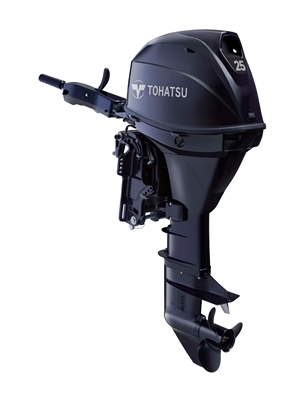 "Tohatsu MFS25CES EFI 4-Stroke Fuel Injection, 25 hp 15"" Shaft - Electric Start - Tiller Handle or remote control - Remote Fuel Tank"