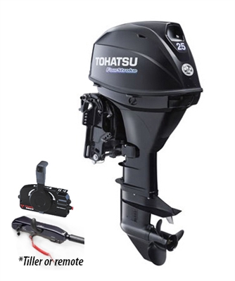 "Tohatsu MFS25CETL EFI 4-Stroke Fuel Injection, 25 hp 20"" Shaft - Electric Start - Tiller Handle or remote control - Remote Fuel Tank"